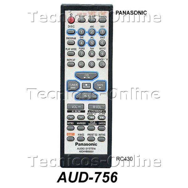 AUD-756 Control Remoto RC430 PANASONIC Audio