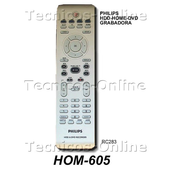 HOM-605 Control Remoto RC283 Audio PHILIPS